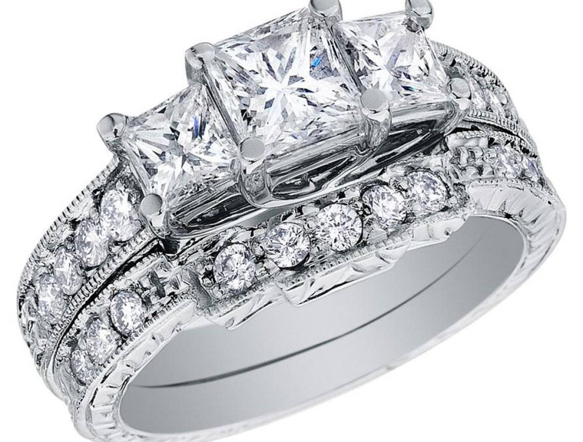 Engagement Rings : Princess Cut Wedding Rings Sets Awesome Intended For Princess Cut Wedding Rings For Women (View 11 of 15)