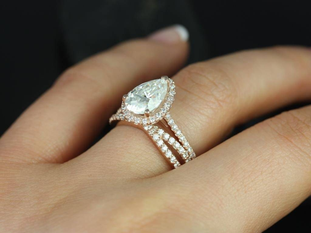 Engagement Rings : Stunning Rose Gold Pear Shaped Engagement Ring Within Pear Shaped Engagement Rings And Wedding Band (Gallery 8 of 15)
