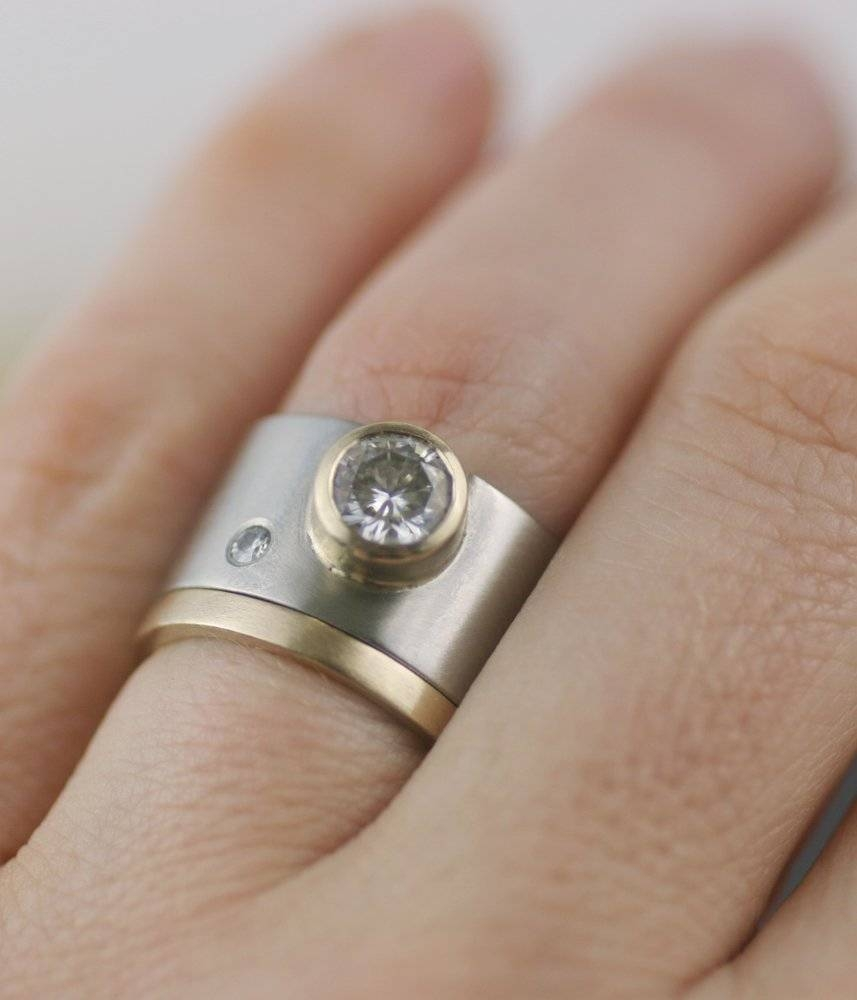 Engagement Rings : Wide Diamond Engagement Ring Wedding Band For Wide Wedding Rings (View 5 of 15)