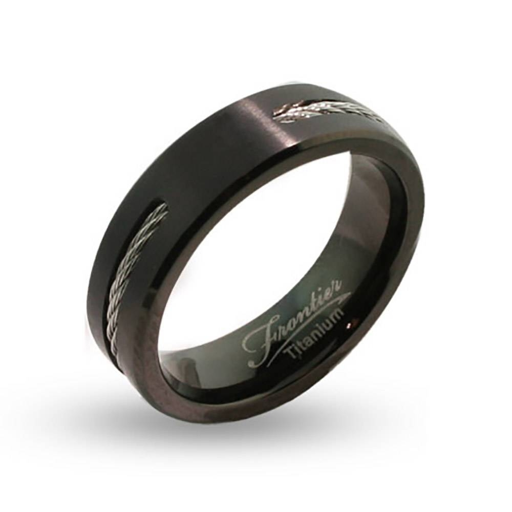 Engravable Black Titanium Signet Ring With Cable Inlay | Eve's In Engravable Titanium Wedding Bands (View 3 of 15)