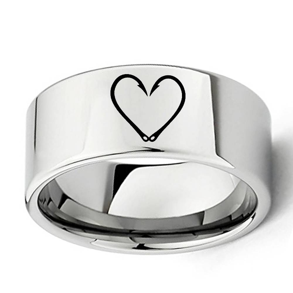Engraved Fish Hook Heart Ring 11Mm Wide Flat Tungsten Carbide With Fish Hook Wedding Rings (View 2 of 15)