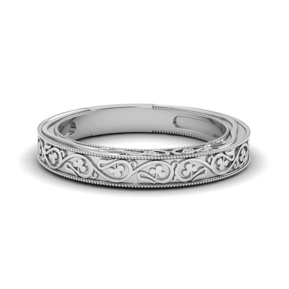 Engraved Milgrain Wedding Band With White Diamond In 14K White In Engraved Wedding Bands (View 4 of 15)