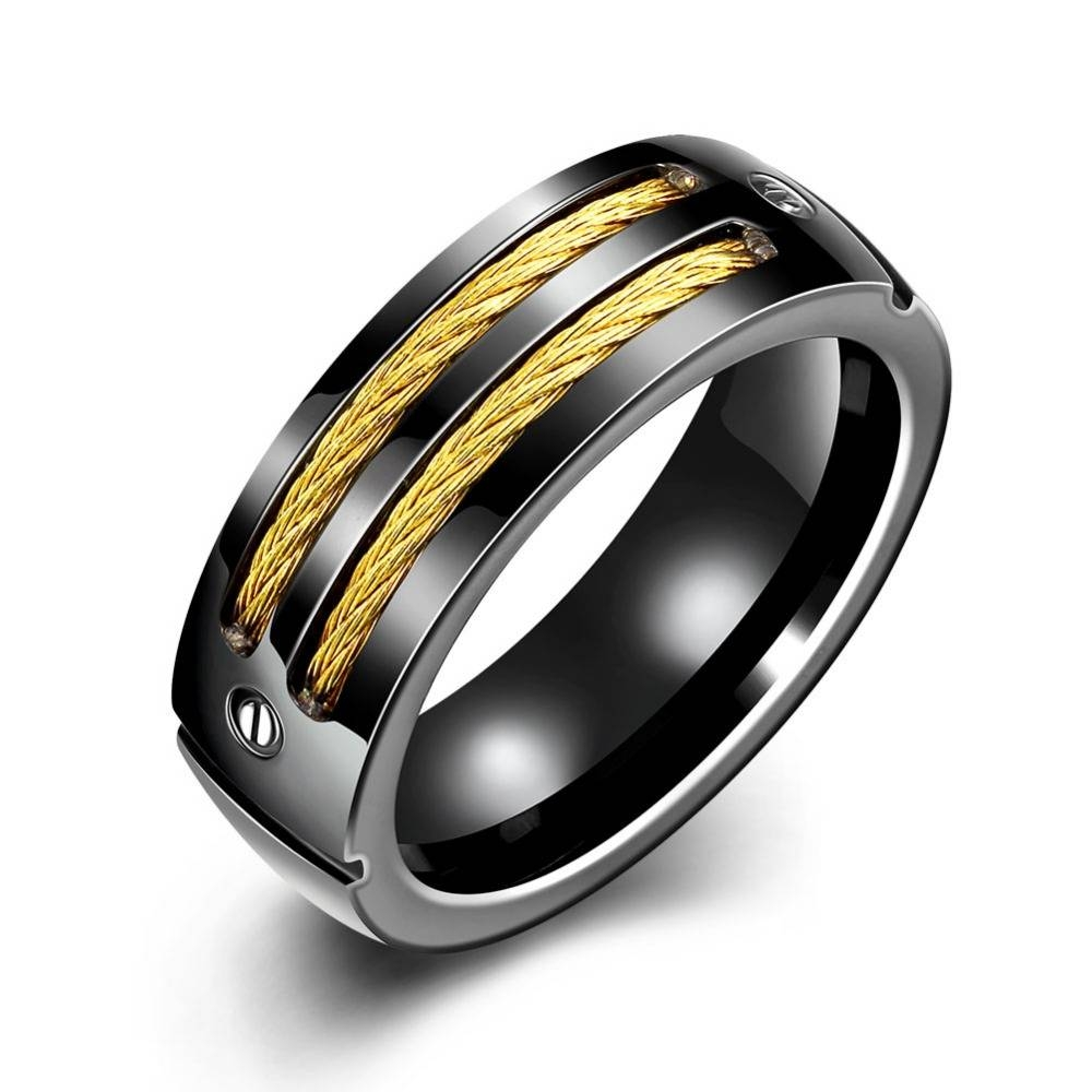 Epicfeat Men's Black Titanium Stainless Steel Rings Cables Screw Within Black Stainless Steel Wedding Bands (View 4 of 15)