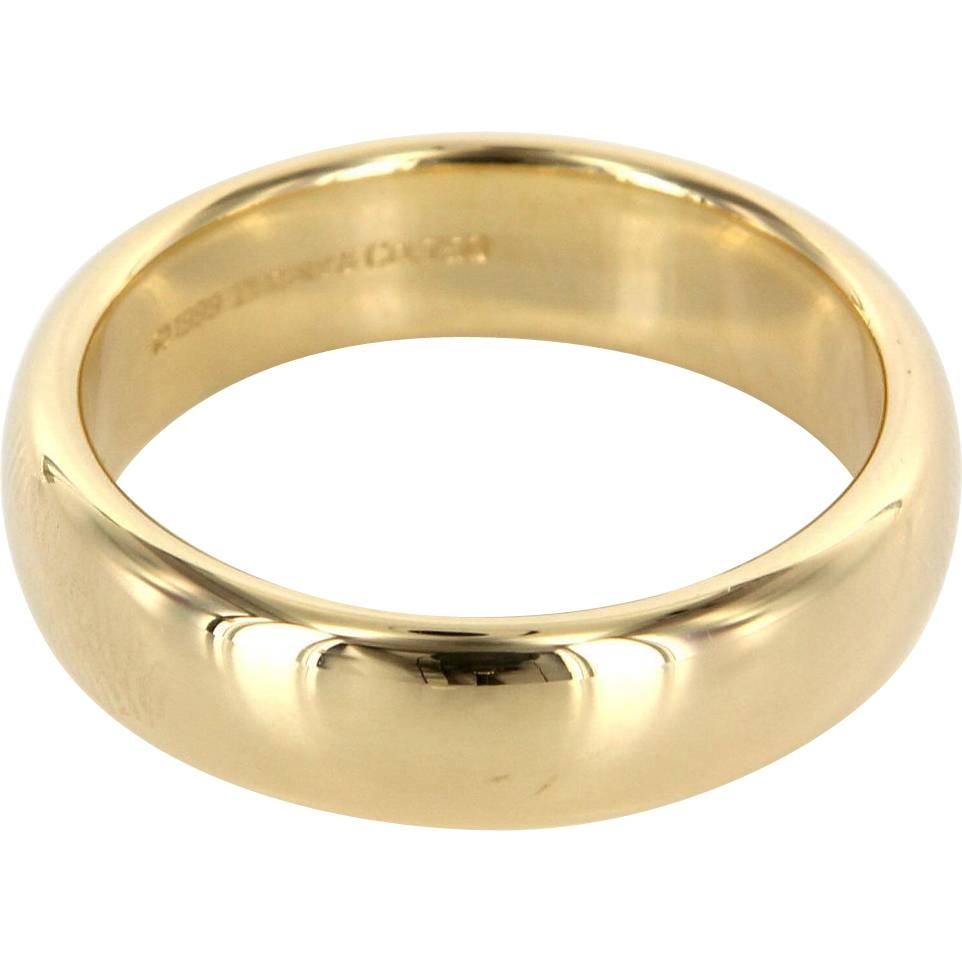 Estate Designer Tiffany & Co 18 Karat Yellow Gold Lucida Mens For 18 Karat Gold Wedding Rings (View 7 of 15)