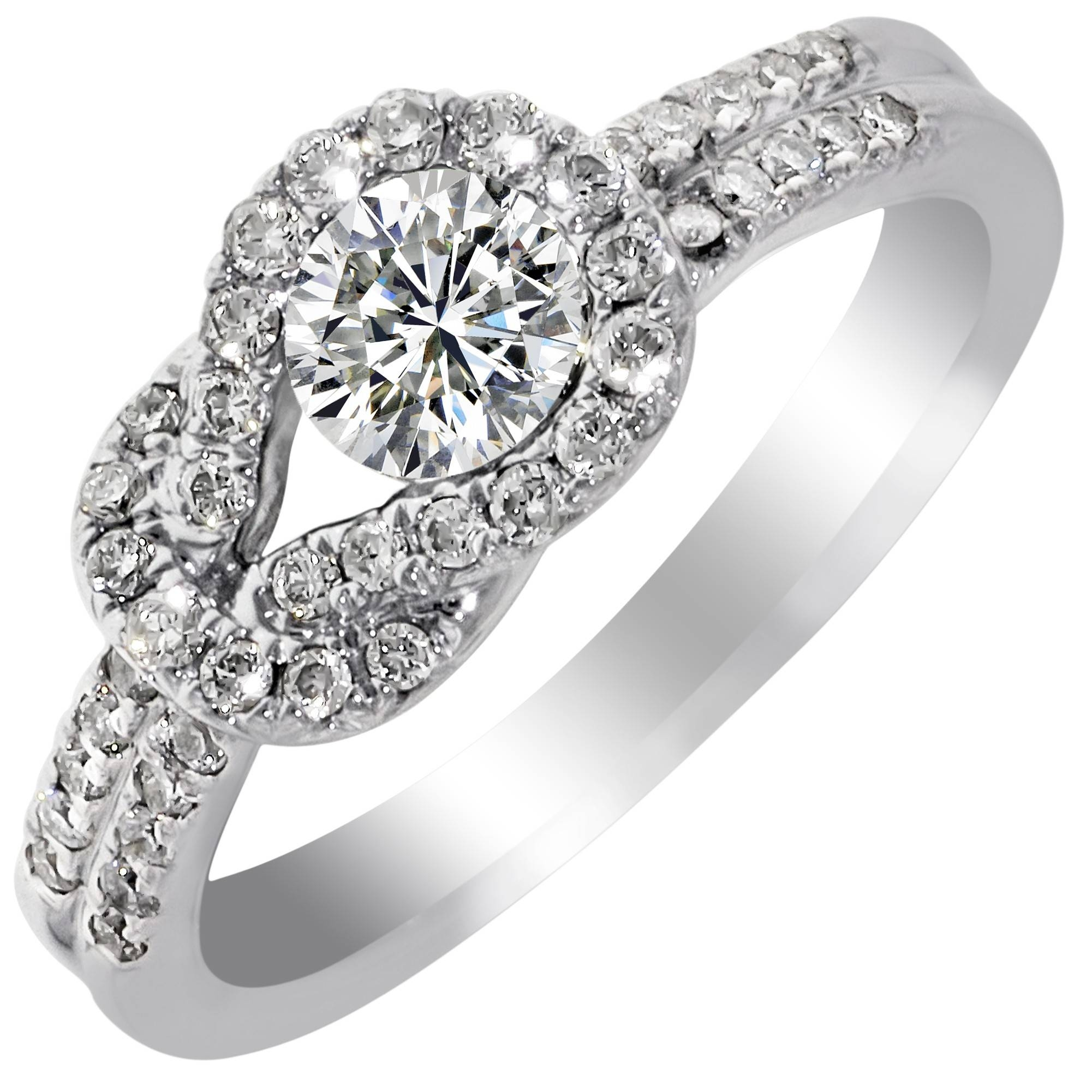 Estate Everlon Diamond Knot Ring In 14kt White Gold (5/8ct Tw) Pertaining To Engagement Rings Knot (View 11 of 15)