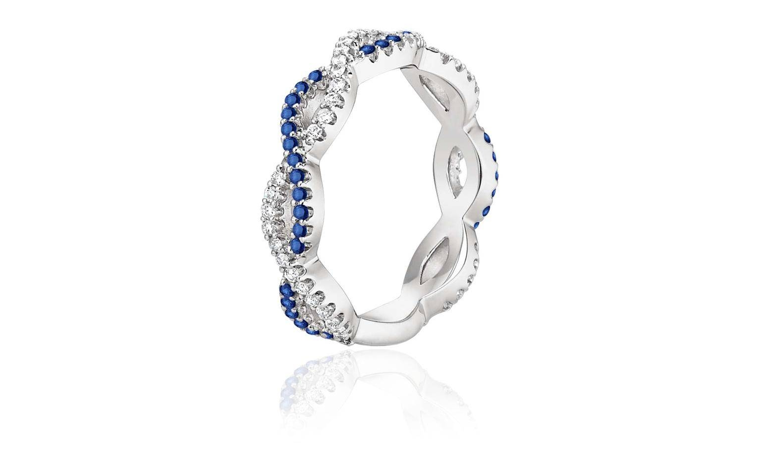 Eternal Twist Diamond And Sapphire Wedding Band | Brilliant Earth Pertaining To Twisted Diamond Wedding Bands (View 14 of 15)