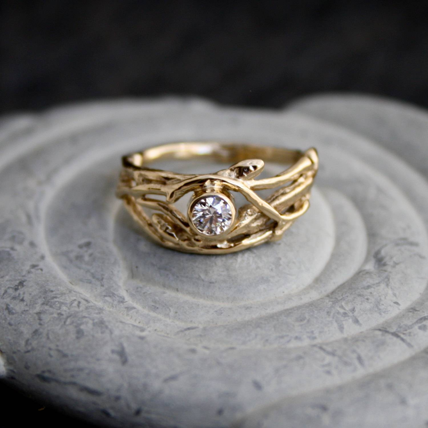 Ethical Canadian Diamond 14Kt Yellow Gold Engagement Branch Pertaining To Tree Engagement Rings (View 7 of 15)