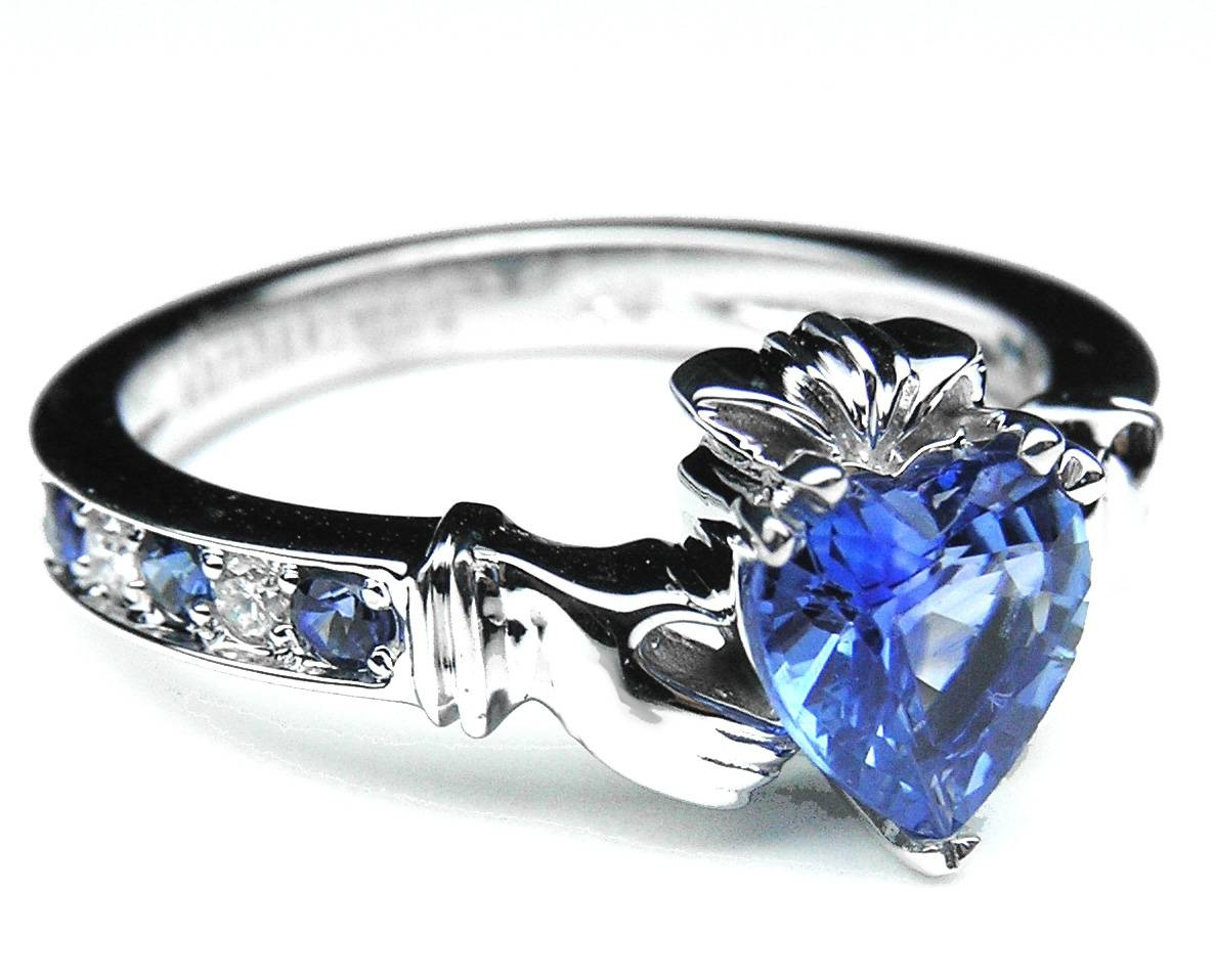 European Engagement Ring – Claddagh Ring Heart Blue Sapphire 14K With Claddagh Rings Engagement Diamond (View 12 of 15)