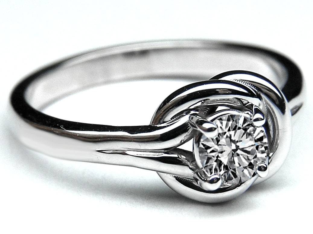 European Engagement Ring – Love Knot Solitaire Diamond Engagement Within Love Knot Engagement Rings (View 2 of 15)