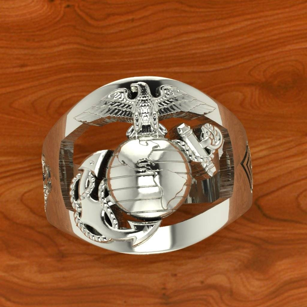 Exceptional Custom Made Marine Corps Rings Made In The Usaa Pertaining To Marine Corps Wedding Bands (View 4 of 15)