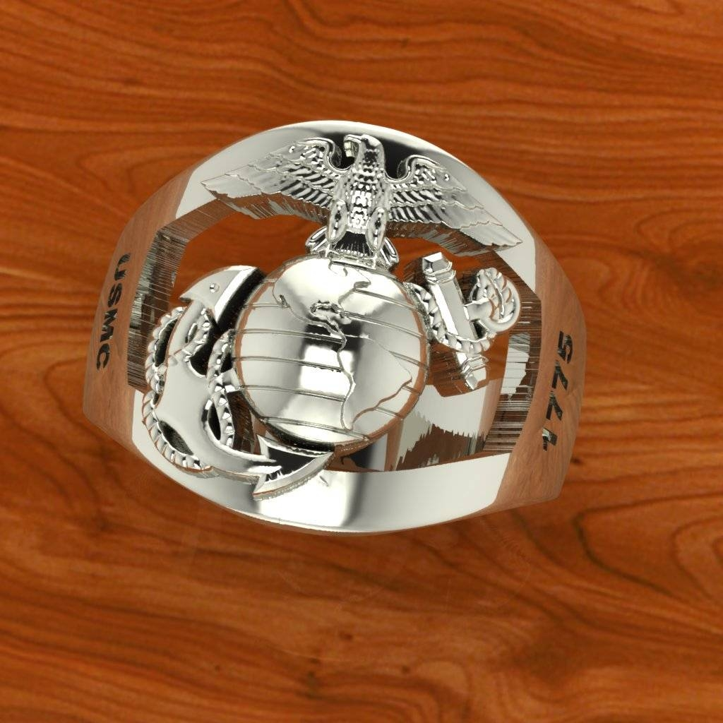 Exceptional Custom Sterling Silver Marine Corps Rings Made In The With Regard To Usmc Wedding Bands (View 7 of 15)