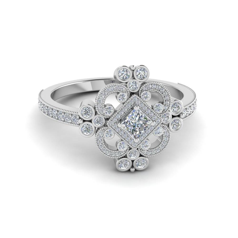 Exclusive Princess Cut Vintage Engagement Rings | Fascinating Diamonds With Princess Engagement Rings (Gallery 4 of 15)