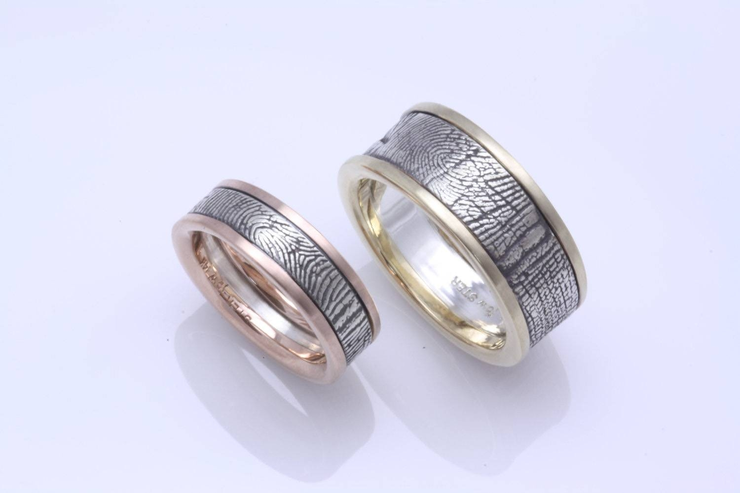 rings domed with engagement product dbbt black engraved ring fingerprint brushed tungsten finish