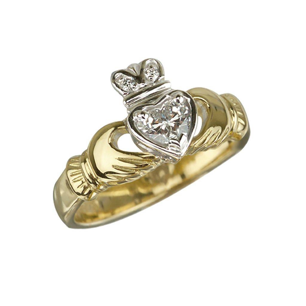 Fallers Wedding Jewellery 18K Gold Diamond Claddagh Engagement Intended For Diamond Claddagh Engagement Rings (View 11 of 15)