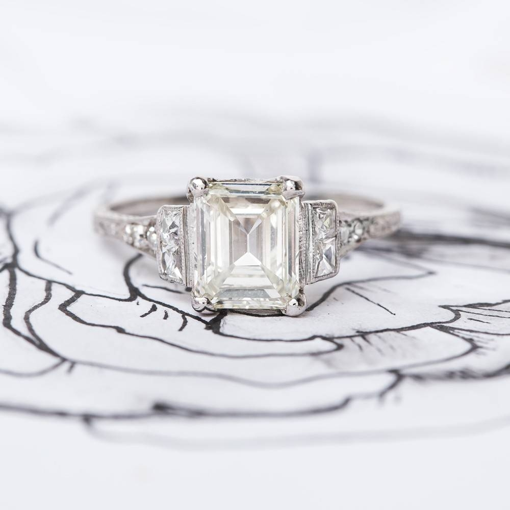 Feminine Emerald Cut Engagement Ring | Seabring In Feminine Engagement Rings (Gallery 3 of 15)