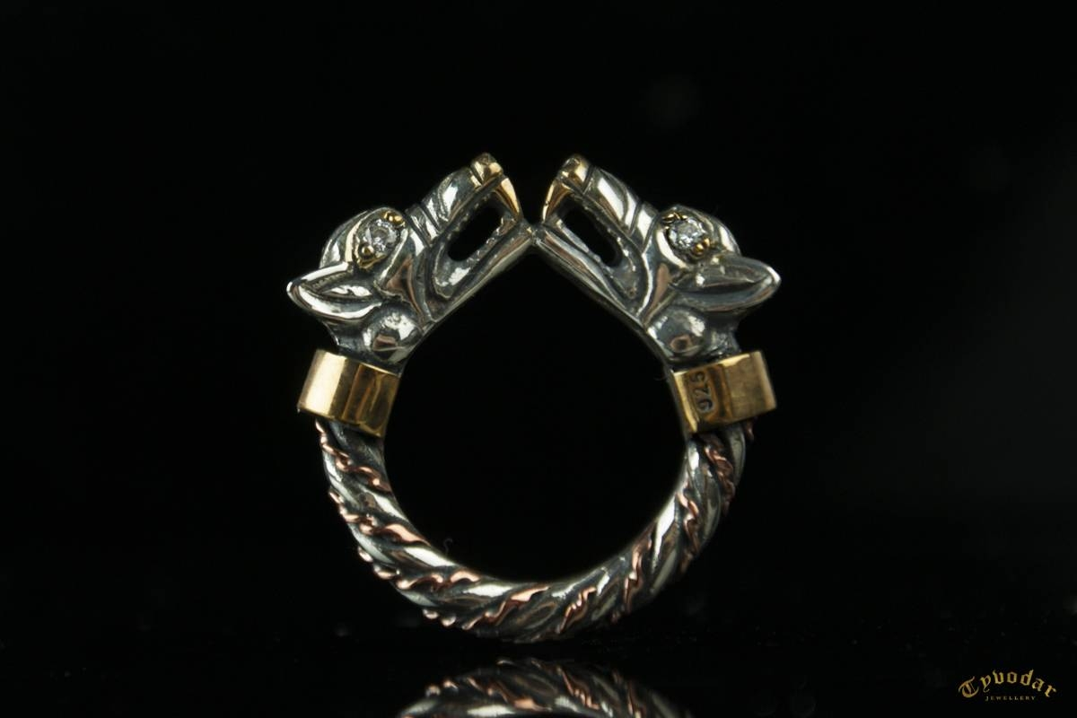 Fenrir Wedding Bands (Diamonds / Silver) – Viking Ring With Wolf Intended For Pagan Engagement Rings (View 8 of 15)