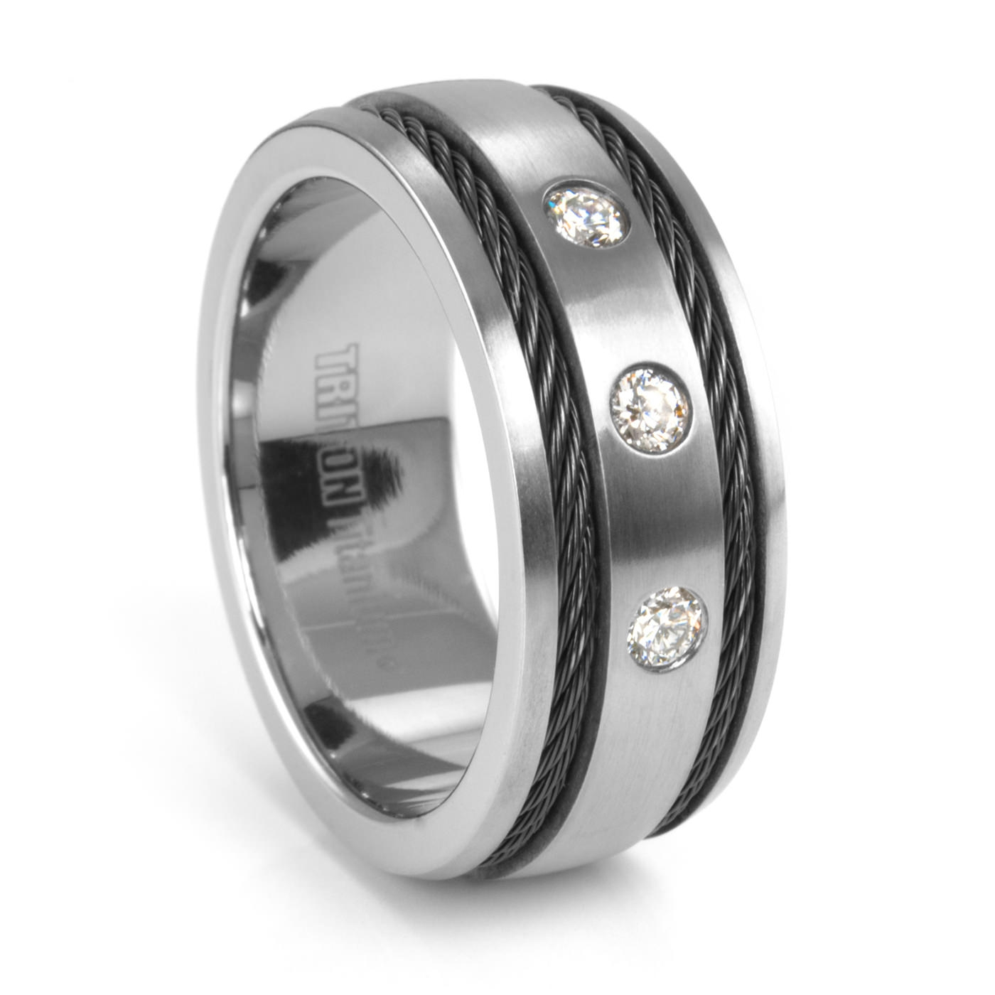 Fenton Men's Titanium Diamond Wedding Band – 9Mm – Triton Cable Ring Within Men's Titanium Wedding Bands With Diamonds (View 3 of 15)