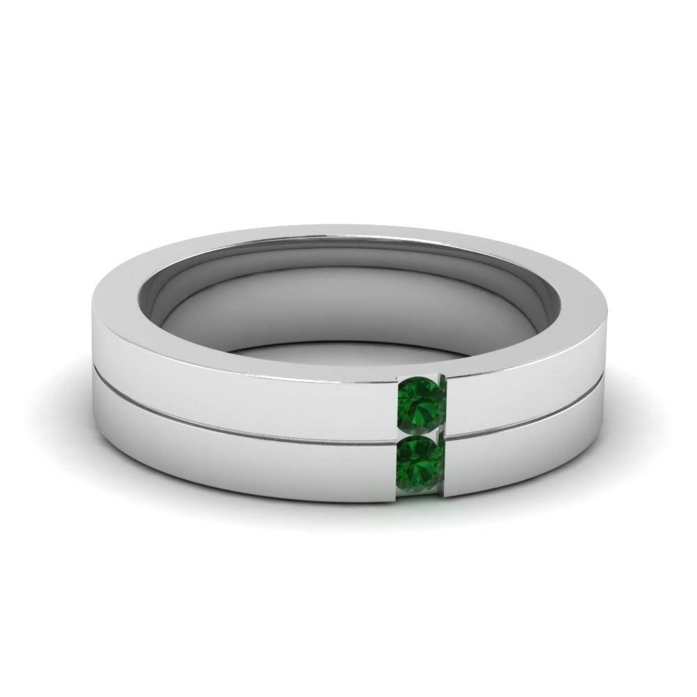 Find Outstanding Collection Of Mens Emerald Wedding Bands Throughout Men's Wedding Bands Emerald (View 11 of 15)