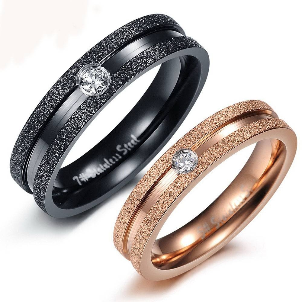 Fine Jewelry Stainless Steel Couple Promise Rings Rose Gold Plated Intended For Couple Rose Gold Wedding Bands (View 4 of 15)