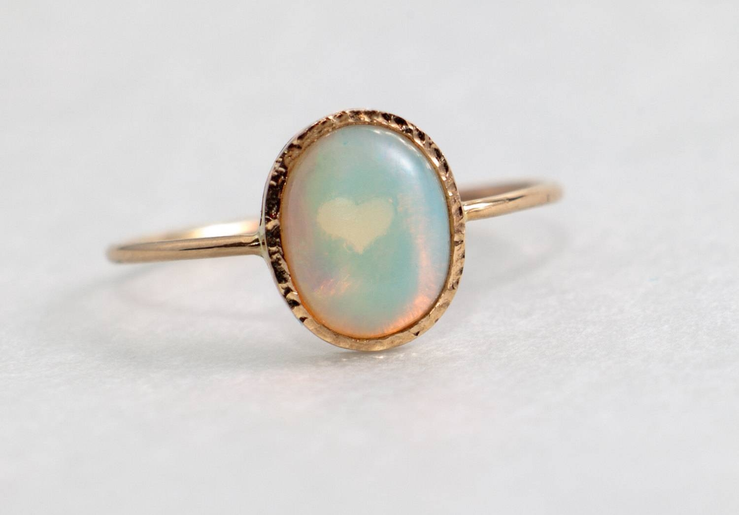 Fire Opal Engagement Ring, Solid 14K Gold, Opal Jewelry Intended For Opal Wedding Bands (View 8 of 15)