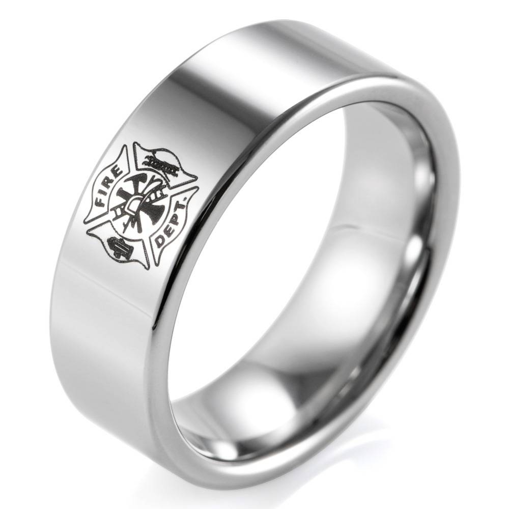 Firefighter Wedding Bands Promotion Shop For Promotional With Men's Firefighter Wedding Bands (View 1 of 15)