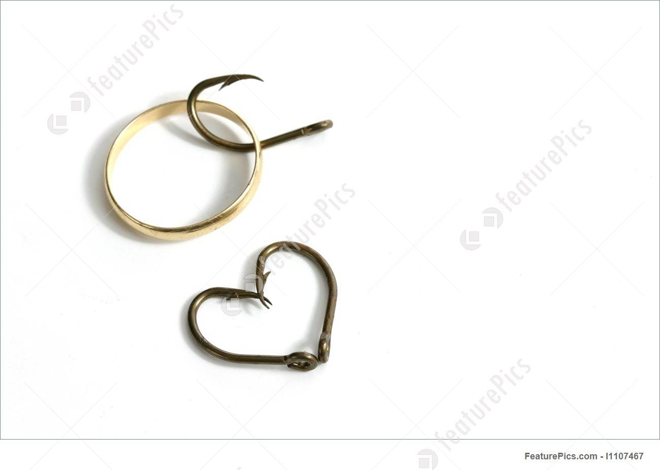 Fish Hooks, Heart, And Wedding Ring Stock Picture I1107467 At With Regard To Fish Hook Wedding Rings (View 7 of 15)