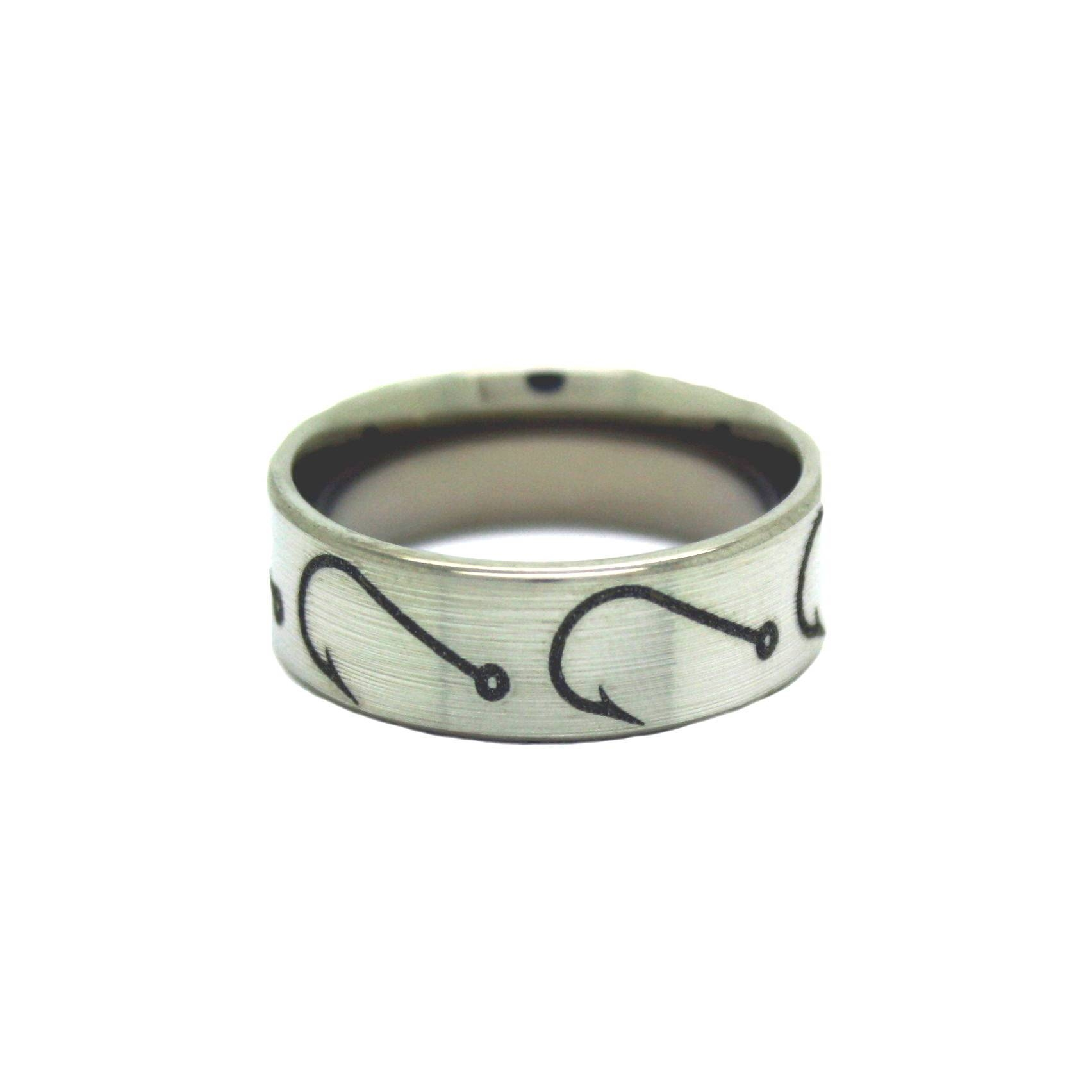 Fishing Hook Ring Gone Fishing Fish Hooks Mens Ring For Fish Hook Wedding Rings (View 8 of 15)