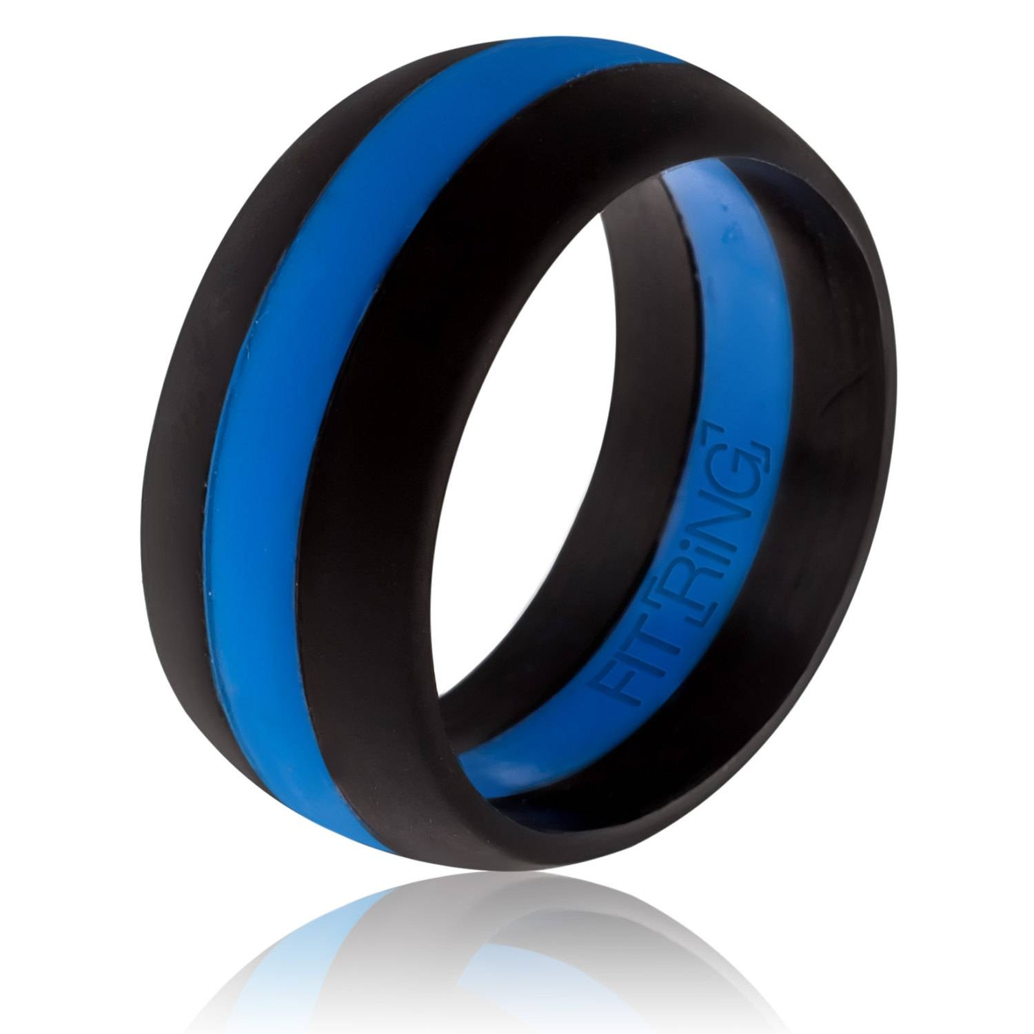 Fit Ring ™ Mens Silicone Wedding Ring Thin Blue Line With Rubber Bands Wedding Bands (View 12 of 15)