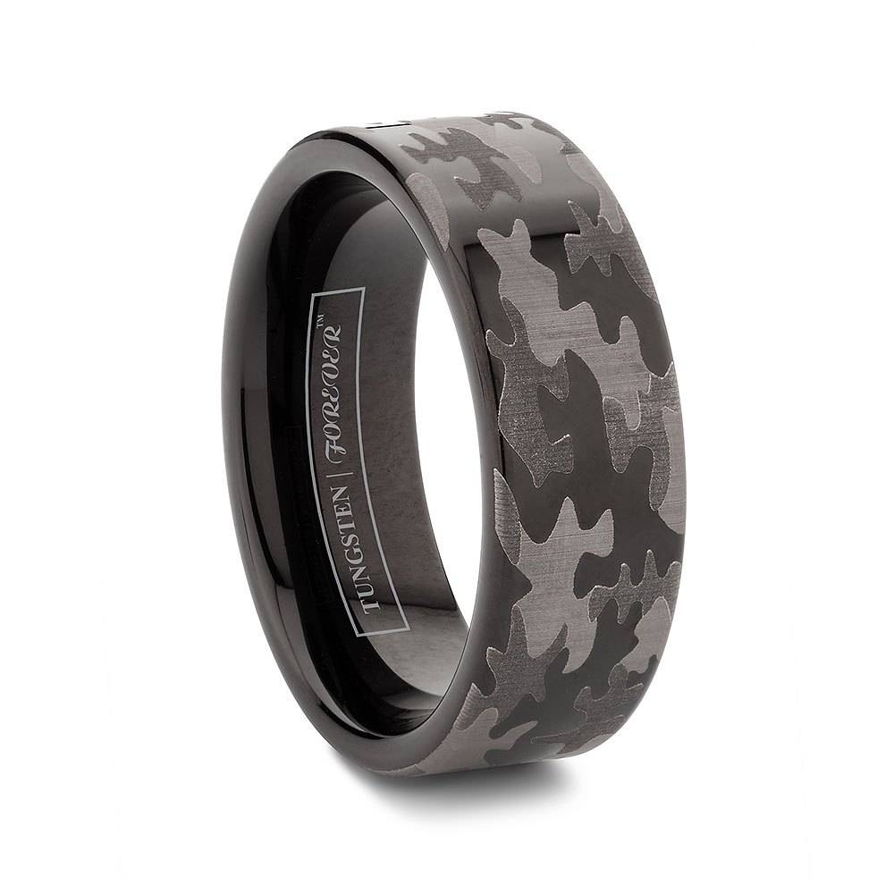 Flat Tungsten Black Camo Wedding Bands 6Mm / 8Mm | Tekware With Flat Black Wedding Bands (Gallery 15 of 15)
