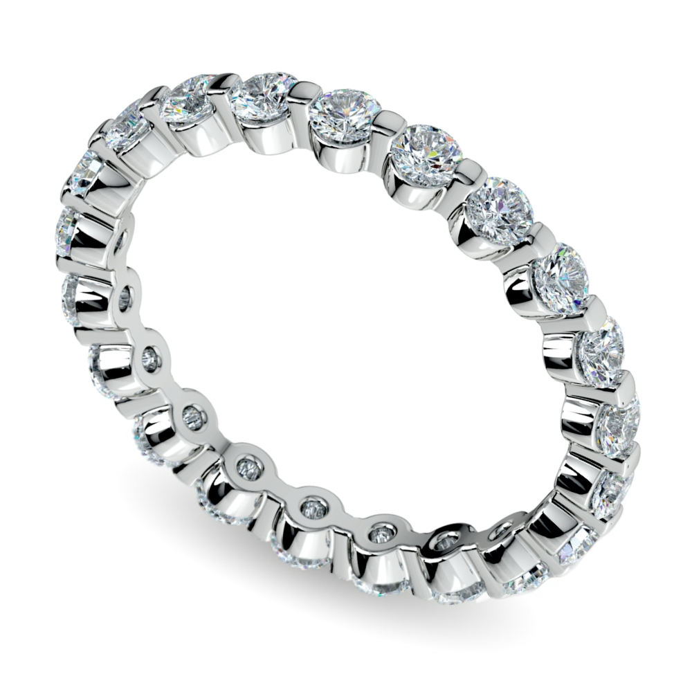 Floating Diamond Eternity Ring In White Gold (1 Ctw) Inside Floating Diamond Wedding Bands (Gallery 15 of 15)