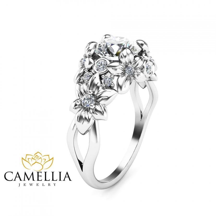 Floral Design Diamond Engagement Ring 14K White Gold Flower Ring With Designing An Engagement Rings (View 10 of 15)