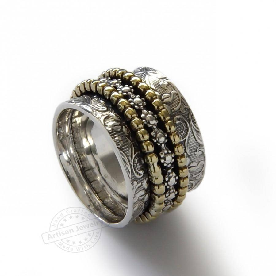 Floral Spinners Band, Brass And Sterling Silver, Infinity Ring With Regard To Wide Women's Wedding Bands (View 7 of 15)