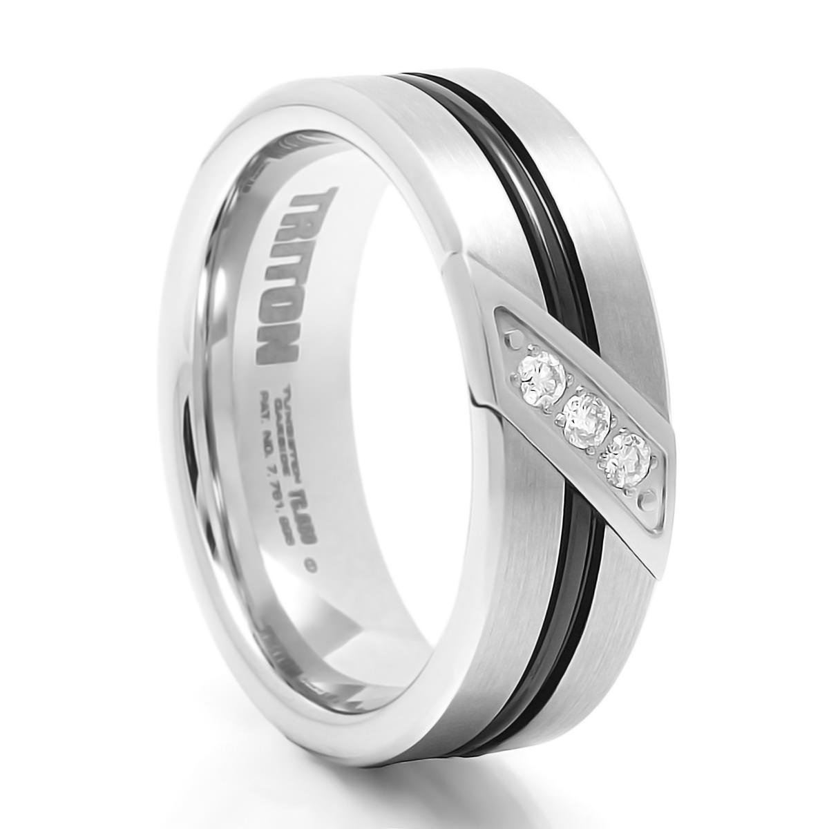 Flux Black & White Tungsten & Diamond Band – Triton – Tungsten Rings For Black Tungsten Wedding Bands With Diamonds (View 8 of 15)
