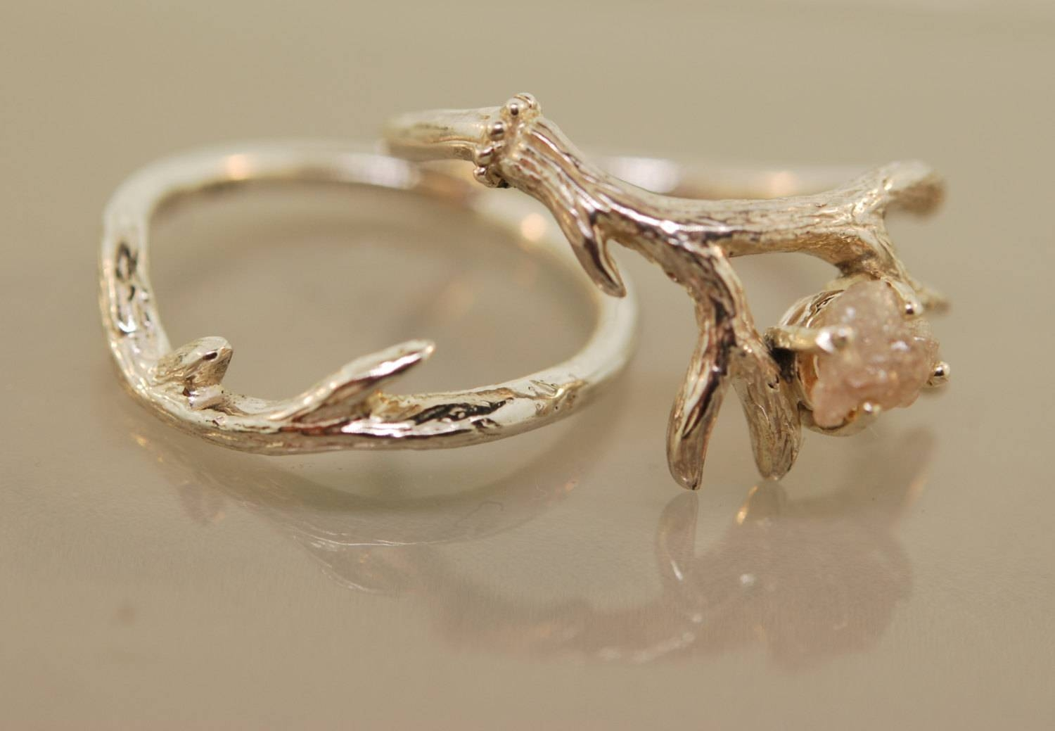 For Shenna Star Antler Ring 2 Set With Moss Aquamarine,alternative Pertaining To Antler Engagement Rings (View 8 of 15)