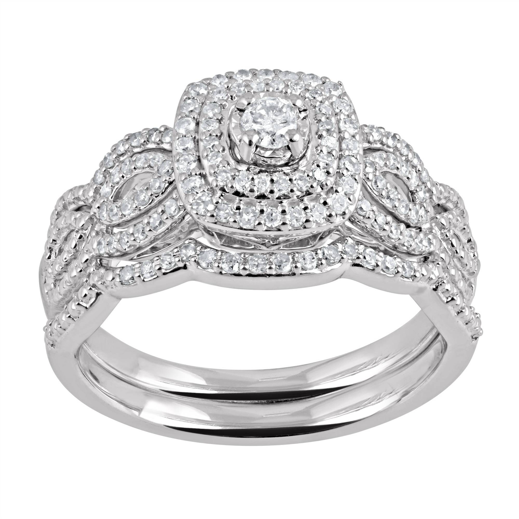 Forever Bride 1/3 Carat T.w. Diamond Frame Twist Sterling Silver Within Walmart Mens Engagement Rings (Gallery 6 of 15)