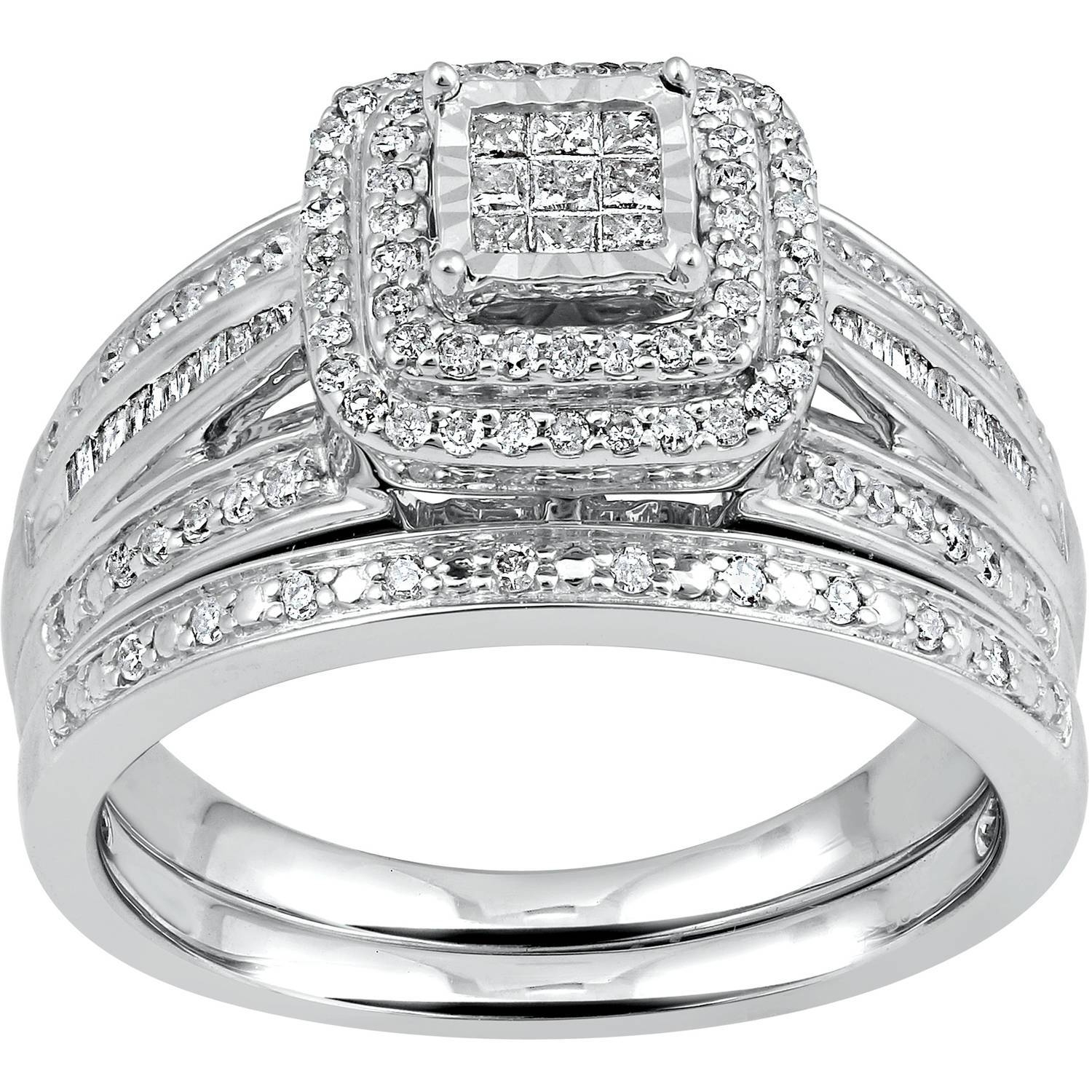Forever Bride Diamond Accent Sterling Silver Wedding Band With Walmart Women's Wedding Bands (View 8 of 15)