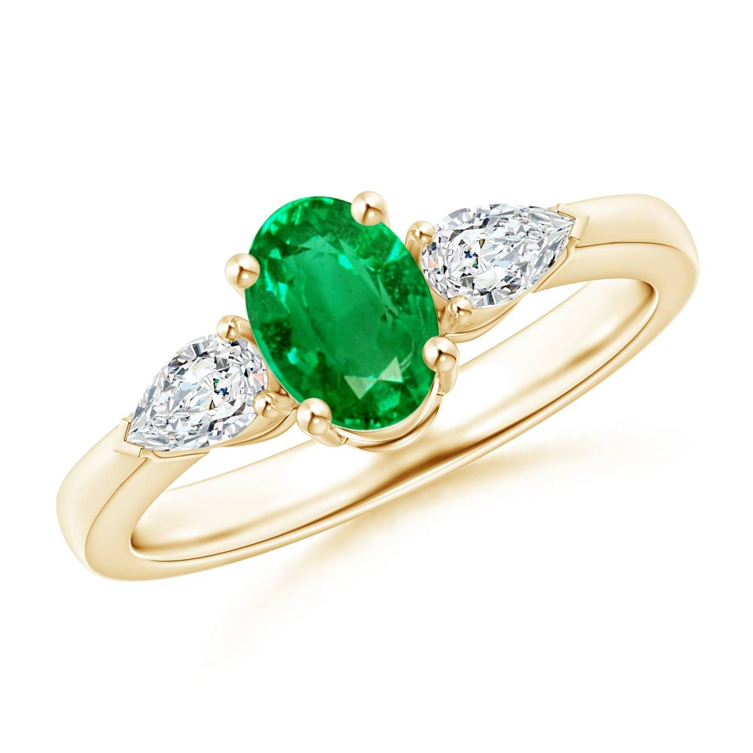 Four Prong Three Stone Oval Emerald And Diamond Ring | Angara Intended For Oval Emerald Engagement Rings (Gallery 10 of 15)