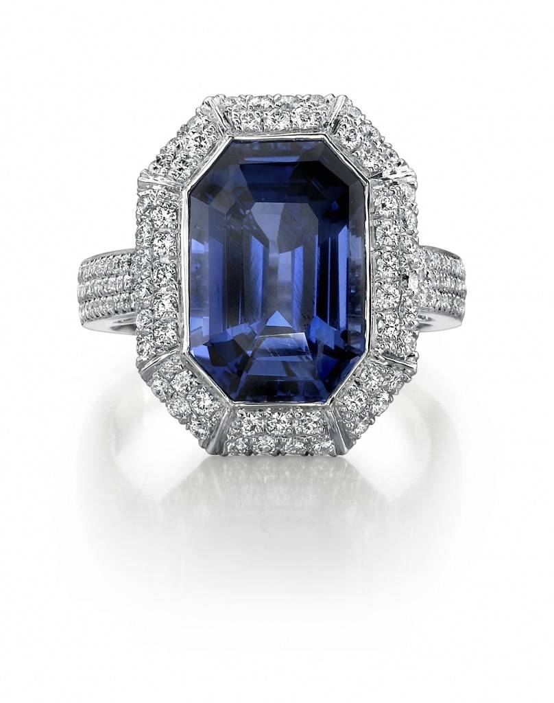 Free Diamond Rings: Emerald Cut Sapphire And Diamond Engagement Inside Emerald Sapphire Engagement Rings (Gallery 4 of 15)