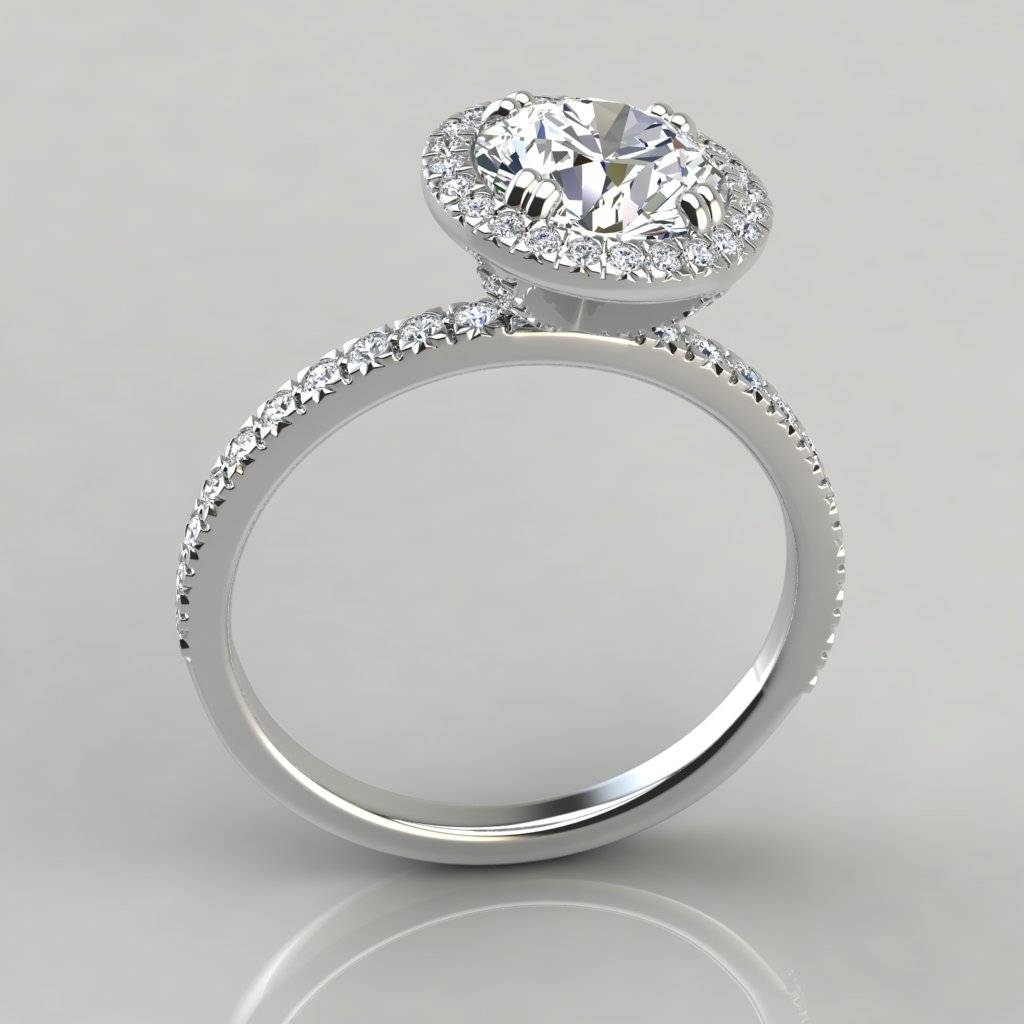 French Cut Pavé Halo Style Engagement Ring – Puregemsjewels With French Pave Wedding Bands (View 8 of 15)