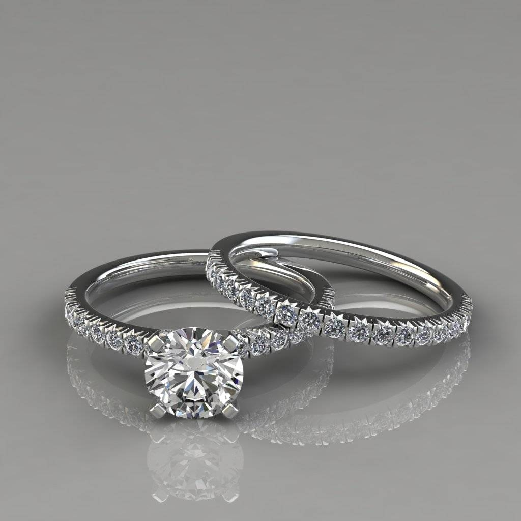 French Pave Cut Engagement Ring And Wedding Band Set – Puregemsjewels Throughout French Pave Wedding Bands (View 3 of 15)