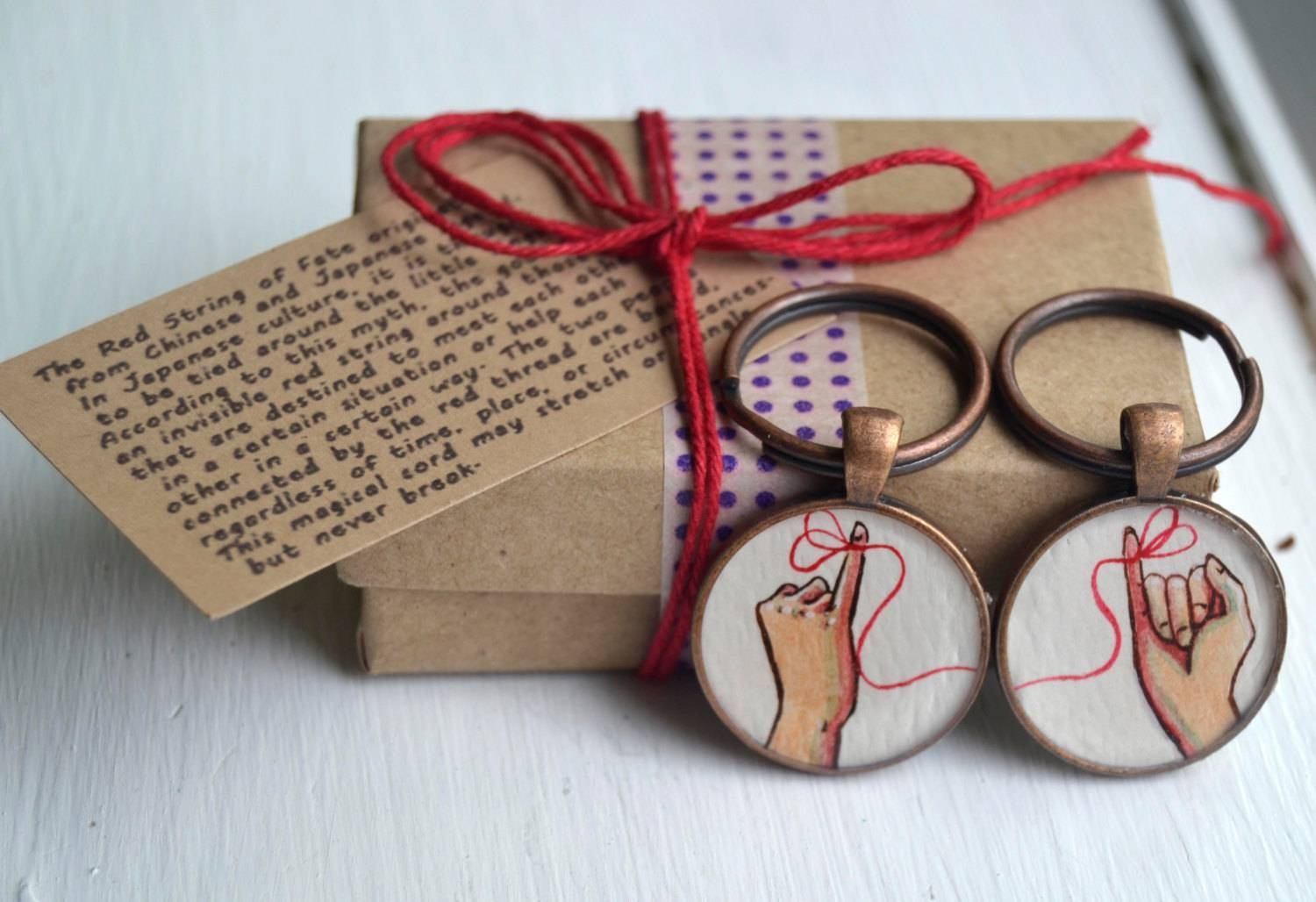 Friend Key Chain Set Red String Of Fate Hand Painted Throughout Red String Of Fate Wedding Rings (View 2 of 15)