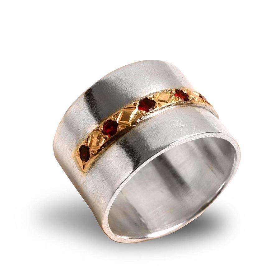 Garnet Wedding Band , Eternity Ring , Silver And Gold Wedding Ring With Regard To Wide Wedding Rings (View 13 of 15)