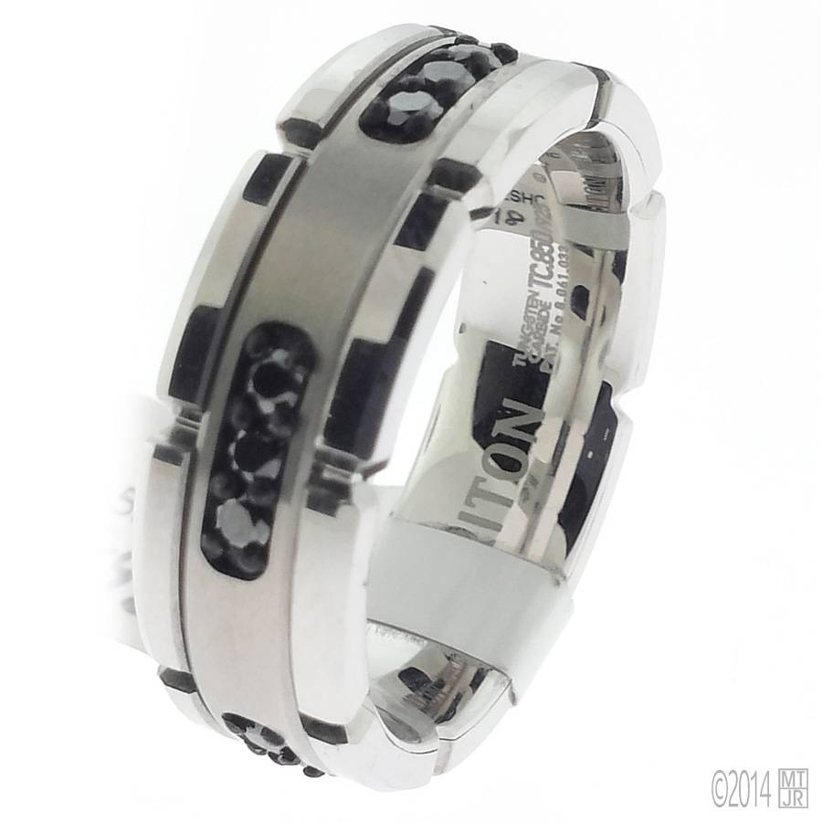 Gent's Tungsten Black Diamond Wedding Band | More Than Just Rings With Regard To Black Tungsten Wedding Bands With Diamonds (View 6 of 15)