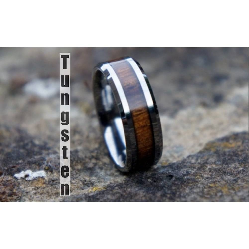 Genuine Koa Wood Inlay Mens Tungsten Carbide Inside Wood Inlay Men's Wedding Bands (View 11 of 15)