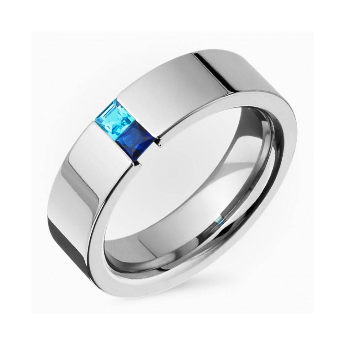 Genuine Sapphire Ring N Blue Topaz Titanium Tension Set Wedding For Blue Wedding Bands For Him (View 2 of 15)