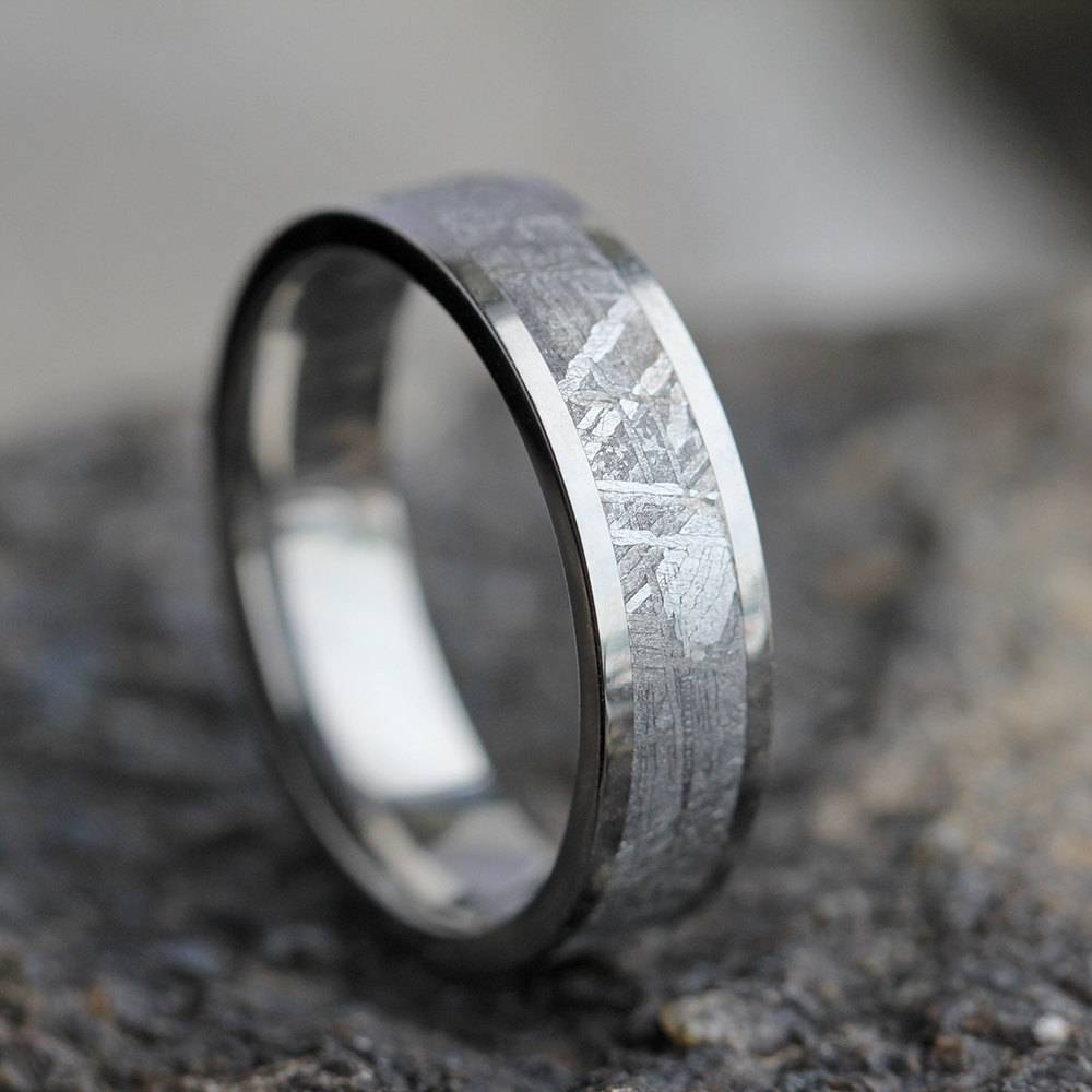 Gibeon Meteorite Wedding Band Wedding Anniversary Ring Intended For Men's Wedding Bands Meteorite (View 3 of 15)