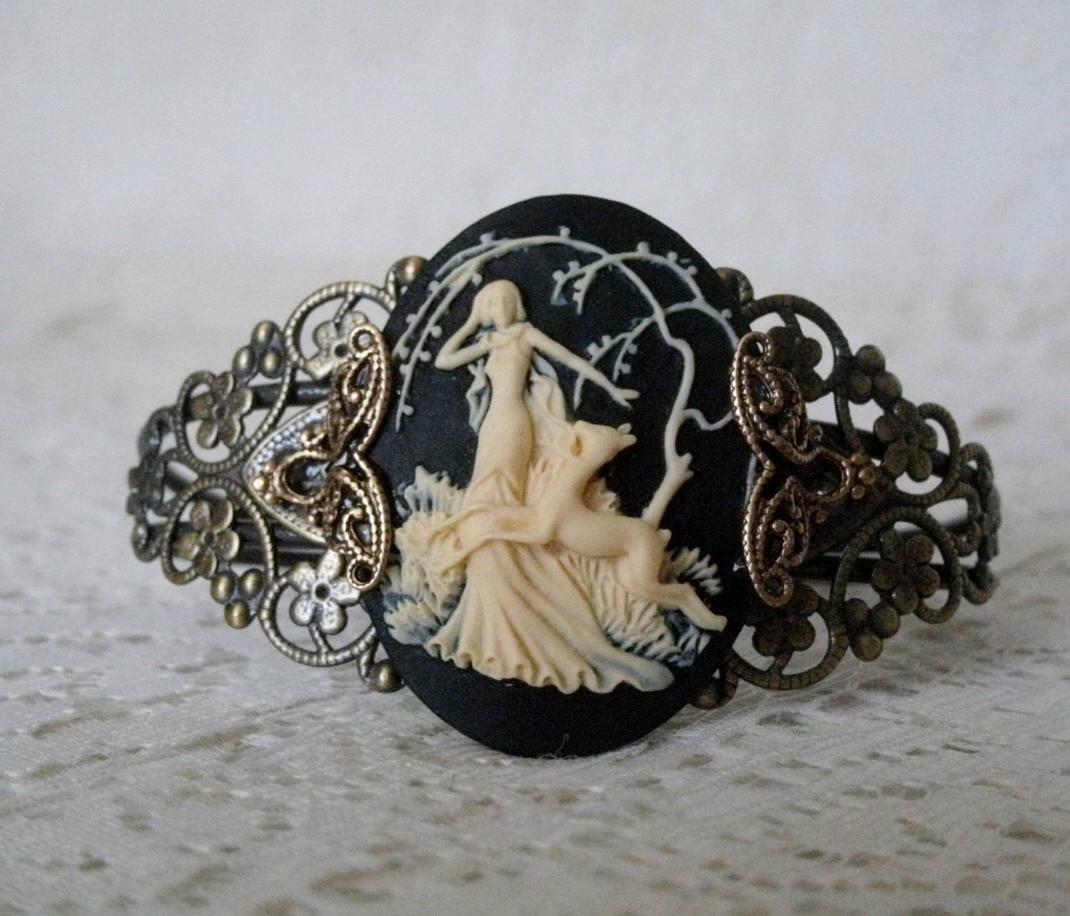 Goddess Diana Cuff Bracelet Wiccan Jewelry Pagan Jewelry With Regard To Wiccan Engagement Rings (View 12 of 15)