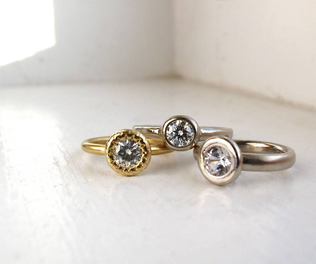 Gold And Diamond Engagement Rings On Etsy Inside Earthy Wedding Rings (View 4 of 15)