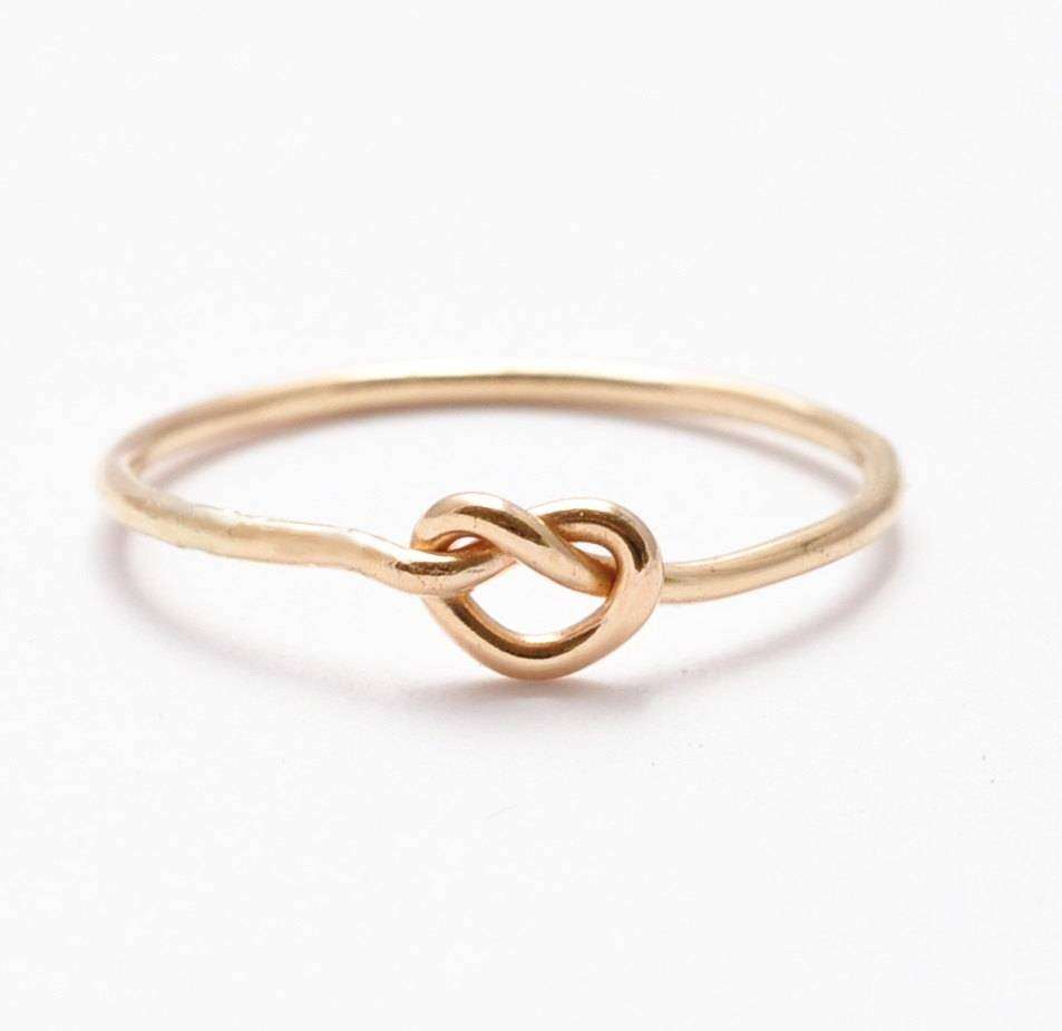 Gold Knot Ring: 14K Yellow Gold Filled Gifts For Teenage In Tie The Knot Engagement Rings (View 7 of 15)