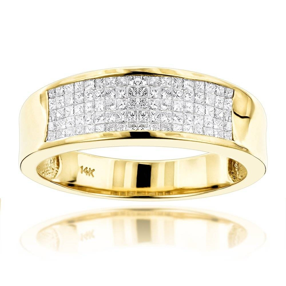 Gold Princess Cut Diamond Mens Wedding Ring  (View 10 of 15)